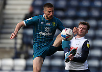 2nd April 2021; Deepdale Stadium, Preston, Lancashire, England; English Football League Championship Football, Preston North End versus Norwich City; Marco Stiepermann of Norwich City clashes with Liam Lindsay of Preston North End as they compete for the ball