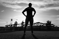 COMMERCE CITY, CO - OCTOBER 25: Crystal Dunn of the USWNT stands on the sideline at Dick's Sporting Goods training fields on October 25, 2020 in Commerce City, Colorado.