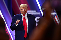 National Harbor, MD - February 29, 2020: U.S. President Donald J. Trump addresses attendees at the Conservative Political Action Conference (CPAC) 2020 hosted by the American Conservative Union at the Gaylord National Resort at National Harbor, MD, February 29, 2020.  (Photo by Don Baxter/Media Images International)