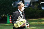 Japanese Chief Cabinet Secretary Yoshihide Suga visits the Chidorigafuchi National Cemetery to lay flowers on 75th Anniversary of World War II in Tokyo, Japan, on 15 August 2020.(Photo by Motoo Naka/AFLO)