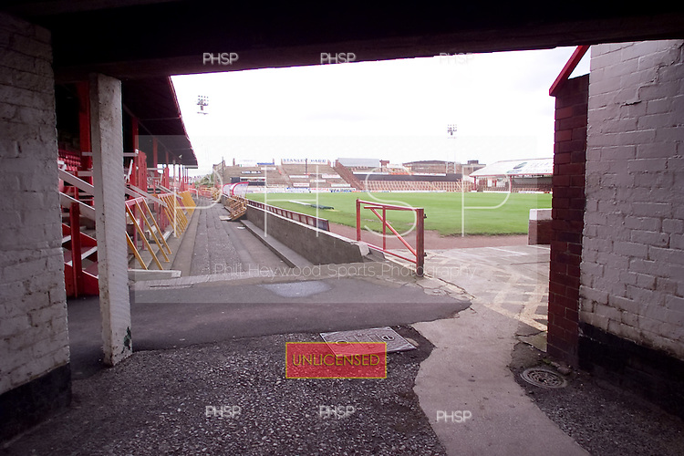23/06/2000 Blackpool FC Bloomfield Road Ground..View of the pitch from underneath the south west stand......© Phill Heywood.