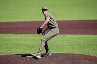 Vanderbilt Commodores reliever Ethan Smith (27) fires a pitch against the South Carolina Gamecocks at Hawkins Field in Nashville, Tennessee, on March 21, 2021. The Gamecocks won 6-5. (Danny Parker/Four Seam Images)
