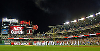 20 September 2012: The Washington Nationals celebrate a win and a clinching post-season play after a game against the Los Angeles Dodgers at Nationals Park in Washington, DC. The Nationals defeated the Dodgers 4-1, clinching a playoff birth: the first time for a Washington franchise since 1933. Mandatory Credit: Ed Wolfstein Photo