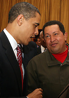 President of Venezuela Hugo Chavez speaks with US President Barak Obama during the America's Summit in Trinidad and Tobago.