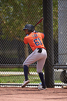 Houston Astros AJ Lee (61) on deck during a Minor League Spring Training game against the New York Mets on April 27, 2021 at FITTEAM Ballpark of the Palm Beaches in Palm Beach, Fla.  (Mike Janes/Four Seam Images)