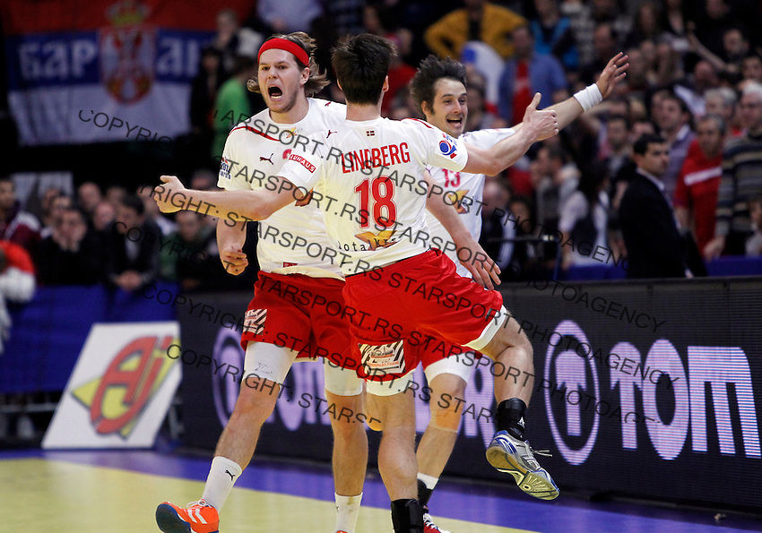 Mikkel Hansen, Hans Lindberg, Spellerberg Bo during men`s EHF EURO 2012 handball championship final game between Serbia and Denmark in Belgrade, Serbia, Sunday, January 29, 2011.  (photo: Pedja Milosavljevic / thepedja@gmail.com / +381641260959)