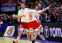 Mikkel Hansen, Hans Lindberg, Spellerberg Bo during men`s EHF EURO 2012 handball championship final game between Serbia and Denmark in Belgrade, Serbia, Sunday, January 29, 2011.  (photo: Pedja Milosavljevic / thepedja@gmail.com / +381641260959)