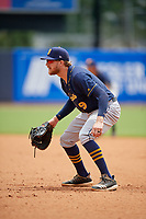 Montgomery Biscuits first baseman Dalton Kelly (9) during a Southern League game against the Biloxi Shuckers on May 8, 2019 at MGM Park in Biloxi, Mississippi.  Biloxi defeated Montgomery 4-2.  (Mike Janes/Four Seam Images)