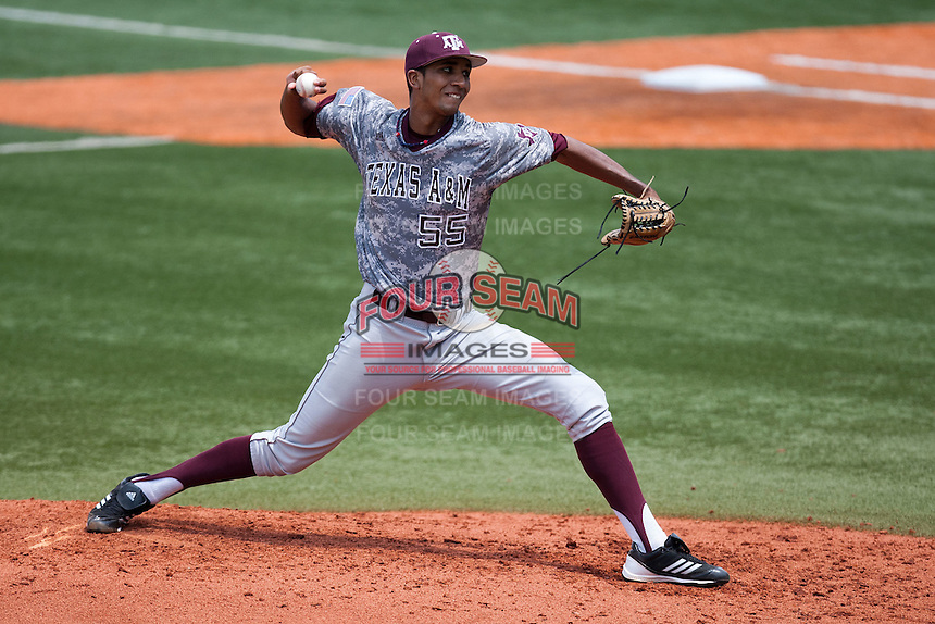 Texas A&M Aggies pitcher Rafael Pineda #55 delivers during the NCAA baseball game against the Texas Longhorns on April 29, 2012 at UFCU Disch-Falk Field in Austin, Texas. The Longhorns beat the Aggies 2-1 in the last ever regular season game scheduled for the long time rivals. (Andrew Woolley / Four Seam Images).