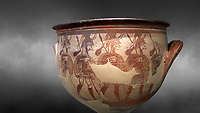'House of Warriors Vase' : Pictoral Mycenaean Krater depicting Mycenaean soldiers in full armour, Mycenae Acropolis, 12th Cent BC.  National Archaeological Museum Athens. Cat no 1426.  Grey art Background <br /> <br /> This large pictoral Mycenaean Krater depicts Mycenaean soldiers full armed with helmet, cuirass, greaves, shield and spaer as they depart for war. This is a superb example of Mycenaean pictoral pottery