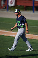 Vermont Lake Monsters manager Aaron Nieckula (26) walks to the mound during a game against the Batavia Muckdogs August 9, 2015 at Dwyer Stadium in Batavia, New York.  Vermont defeated Batavia 11-5.  (Mike Janes/Four Seam Images)