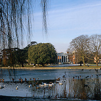 A view of the grand portico at Osterley Park from across the frozen lake