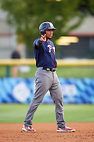 Lehigh Valley IronPigs shortstop J.P. Crawford (3) signals to teammates after hitting a double during a game against the Buffalo Bisons on July 9, 2016 at Coca-Cola Field in Buffalo, New York.  Lehigh Valley defeated Buffalo 9-1 in a rain shortened game.  (Mike Janes/Four Seam Images)