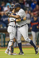 Detroit Tigers pitcher Jose Valverde (46) hugs catcher Alex Avila after the MLB baseball game against the Houston Astros on May 3, 2013 at Minute Maid Park in Houston, Texas. Detroit defeated Houston 4-3. (Andrew Woolley/Four Seam Images).