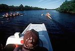 Rowing coach with crews, Charles River, Cambridge, Massachusetts, Rowers from the Cambridge Boat Club, Coach Gordon Hamilton, CIrca 2004.