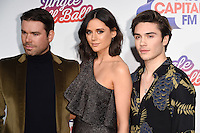 Dave Berry, Lilah Parsons and George Shelley<br /> at the Jingle Bell Ball 2016, O2 Arena, Greenwich, London.<br /> <br /> <br /> ©Ash Knotek  D3208  03/12/2016