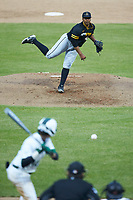 Appalachian State Mountaineers relief pitcher AJ Stinson (45) in action against the Charlotte 49ers at Atrium Health Ballpark on March 23, 2021 in Kannapolis, North Carolina. (Brian Westerholt/Four Seam Images)
