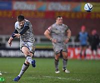 2nd January 2021; Kingsholm Stadium, Gloucester, Gloucestershire, England; English Premiership Rugby, Gloucester versus Sale Sharks; AJ MacGinty of Sale Sharks kicks a penalty