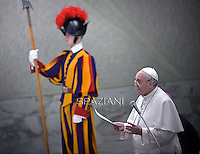Pope Francis during his weekly general audience at the Paul VI hall at the Vatican, Wednesday. January 28, 2015