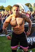 London, UK on Sunday 31st August, 2014. Ashley Cain from Ex on the Beach with his shirt off during the Soccer Six charity celebrity football tournament at Mile End Stadium, London.