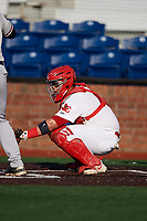 Johnson City Cardinals catcher Carlos Soto (47) awaits the pitch during a game against the Danville Braves on July 29, 2018 at TVA Credit Union Ballpark in Johnson City, Tennessee.  Johnson City defeated Danville 8-1.  (Mike Janes/Four Seam Images)