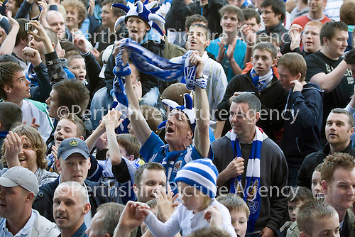 St Johnstone v Morton....02.05.09.St Johnstone fans enjoy winning the first division title.Picture by Graeme Hart..Copyright Perthshire Picture Agency.Tel: 01738 623350  Mobile: 07990 594431