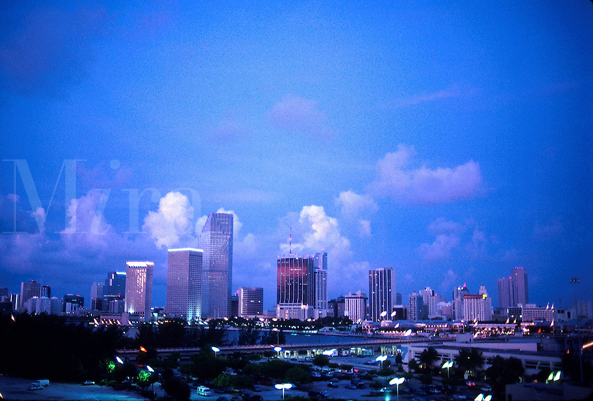Miami Skyline at dawn, city, buildings, architecture, 07-0850. Miami Florida United States Miami Skyline.