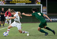 COLLEGE PARK, MD - SEPTEMBER 3: Maryland University forward Hunter George (7) turns away from George Mason University defender Noah McGrath (5) during a game between George Mason University and University of Maryland at Ludwig Field on September 3, 2021 in College Park, Maryland.