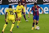 27th September 2020; Camp Nou, Barcelona, Catalonia, Spain; La Liga Football, Barcelona versus Villareal;  Machado Trincão takes on Estupiñán of Villareal