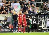 Jamal MUSIALA l. (M) and Kingsley COMAN (M) before substitution, Soccer 1. Bundesliga, 1st matchday, Borussia Monchengladbach (MG) - FC Bayern Munich (M) 1: 1, on August 13, 2021 in Borussia Monchengladbach / Germany. #DFL regulations prohibit any use of photographs as image sequences and / or quasi-video # Â