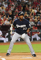 Jun. 30, 2008; Phoenix, AZ, USA; Milwaukee Brewers second baseman Rickie Weeks against the Arizona Diamondbacks at Chase Field. Mandatory Credit: Mark J. Rebilas-