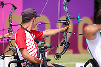 27th August 2021; Tokyo, Japan; <br />  Kohji Oyama (JPN), Archery : <br /> Men's Individual W1 Ranking Round <br /> during the Tokyo 2020 Paralympic Games at the Yumenoshima Park Archery Field in Tokyo, Japan.