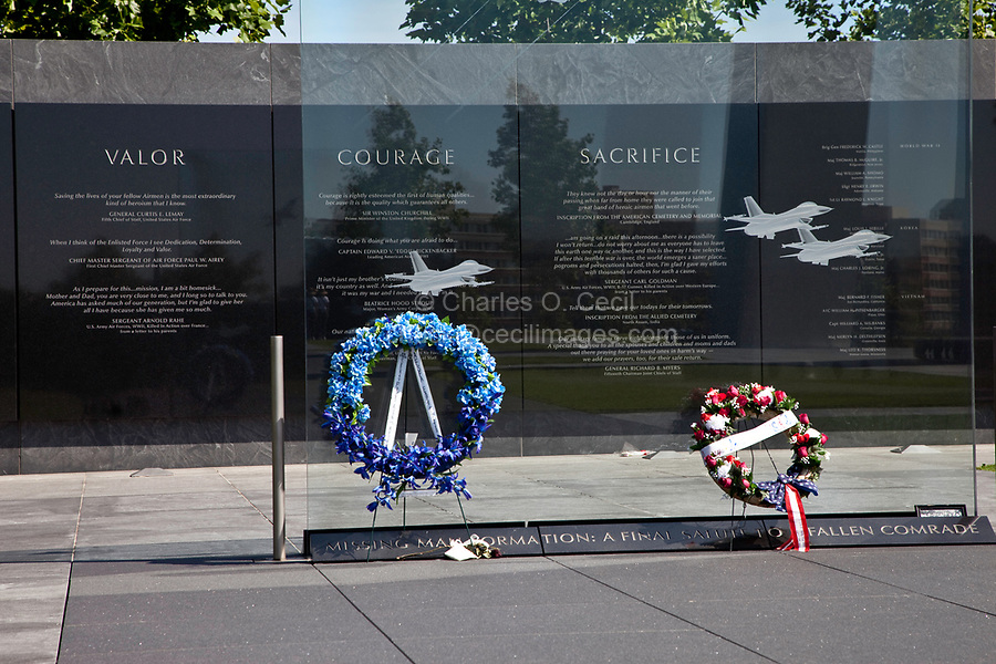 "Arlington, Virginia, USA.  U.S. Air Force Memorial. "" Missing Man"" Formation on Glass Contemplation Wall."