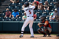Brandon Martorano (5) of the Richmond Flying Squirrels at bat against the Bowie Baysox at The Diamond on July 28, 2021, in Richmond Virginia. (Brian Westerholt/Four Seam Images)