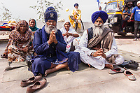 Asia,India,Punjab, Anandpur Sahib, sikh pilgrim with his turban to the Holla Mohalla annual festival