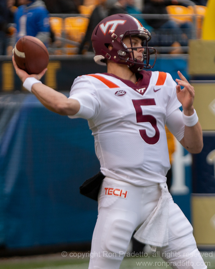 Virginia Tech quarterback Ryan Willis. The Pitt Panthers defeated the Virginia Tech Hokies 52-22 on November 10, 2018 at Heinz Field in Pittsburgh, Pennsylvania.