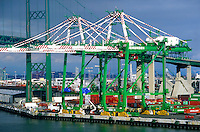 Container shipping cranes at San Pedro, Port of Long Beach, California