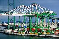 Container shipping cranes at San Pedro, Port of Long Beach, California