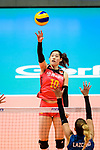 Xiaotong Liu of China attacks during the FIVB Volleyball Nations League Hong Kong match between China and Argentina on May 29, 2018 in Hong Kong, Hong Kong. Photo by Marcio Rodrigo Machado / Power Sport Images