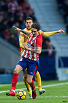 Sime Vrsaljko (R) of Atletico de Madrid fights for the ball with Alex Granell Nogue of Girona FC during the La Liga 2017-18 match between Atletico de Madrid and Girona FC at Wanda Metropolitano on 20 January 2018 in Madrid, Spain. Photo by Diego Gonzalez / Power Sport Images
