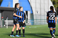 Brugge's Marie Minnaert and Brugge's Celien Guns pictured celebrating after scoring a goal during a female soccer game between the women teams of Club Brugge YLA Dames and Union Saint-Ghislain Tertre-Hautrage Ladies on the 1/16 th qualifying round for the Belgian Womens Cup 2020  2021 , on saturday 26 th of September 2020  in Brugge , Belgium . PHOTO SPORTPIX.BE | SPP | DAVID CATRY