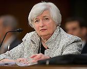 """Janet L. Yellen, Chair, Board of Governors of the Federal Reserve System, gives testimony before the United States Senate Committee on Banking, Housing and Urban Affairs on """"The Semiannual Monetary Policy Report to the Congress."""" on Capitol Hill in Washington, D.C. on Tuesday, July 15, 2014.<br /> Credit: Ron Sachs / CNP"""