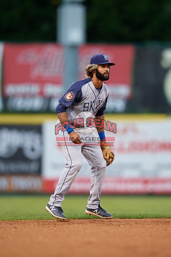 Brooklyn Cyclones shortstop Manny Rodriguez (1) during a game against the Tri-City ValleyCats on August 21, 2018 at Joseph L. Bruno Stadium in Troy, New York.  Tri-City defeated Brooklyn 5-2.  (Mike Janes/Four Seam Images)