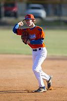 Glenn Bobcats second baseman Forrest Ridenhour (7) makes a throw to first base during fielding practice prior to the game against the Mallard Creek Mavericks at Dale Ijames Stadium on March 22, 2017 in Kernersville, North Carolina.  The Bobcats defeated the Mavericks 12-2 in 5 innings.  (Brian Westerholt/Four Seam Images)