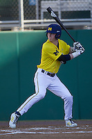 Michigan Wolverines third baseman Jacob Cronenworth (2) at bat during the NCAA season opening baseball game against the Texas State Bobcats on February 14, 2014 at Bobcat Ballpark in San Marcos, Texas. Texas State defeated Michigan 8-7 in 10 innings. (Andrew Woolley/Four Seam Images)
