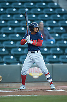 Santiago Espinal (5) of the Salem Red Sox at bat against the Winston-Salem Dash at BB&T Ballpark on April 20, 2018 in Winston-Salem, North Carolina.  The Red Sox defeated the Dash 10-3.  (Brian Westerholt/Four Seam Images)