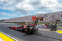 Jul 12, 2020; Clermont, Indiana, USA; NHRA top fuel driver Billy Torrence (near) races alongside T.J. Zizzo during the E3 Spark Plugs Nationals at Lucas Oil Raceway. This is the first race back for NHRA since the start of the COVID-19 global pandemic. Mandatory Credit: Mark J. Rebilas-USA TODAY Sports