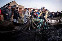 Wout van Aert (BEL/Jumbo - Visma) in his first race back after his severe crash in the 2019 Tour de France.<br /> <br /> Azencross Loenhout 2019 (BEL)<br />  <br /> ©kramon