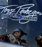 Apr 8, 2006; Las Vegas, NV, USA; NHRA Funny Car driver Tony Pedregon following a qualifying run for the SummitRacing.com Nationals at Las Vegas Motor Speedway in Las Vegas, NV. Mandatory Credit: Mark J. Rebilas