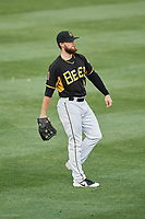 Jared Walsh (14) of the Salt Lake Bees during the game against the Nashville Sounds at Smith's Ballpark on July 28, 2018 in Salt Lake City, Utah. The Bees defeated the Sounds 11-6. (Stephen Smith/Four Seam Images)